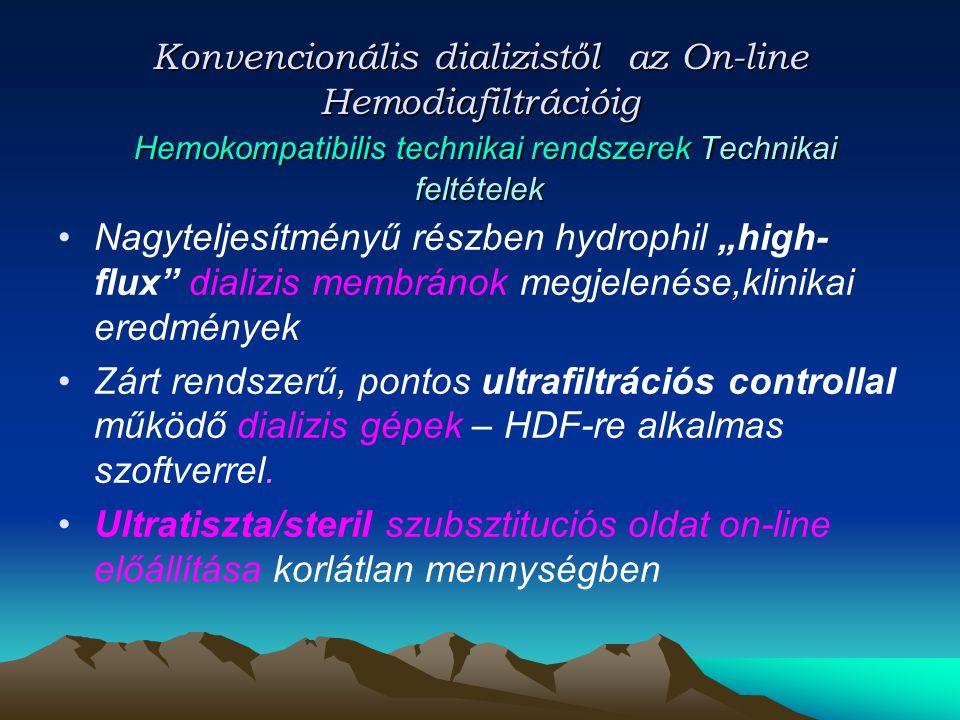 Konvencionális dializistől az On-line Hemodiafiltrációig Hemokompatibilis technikai rendszerek Technikai feltételek