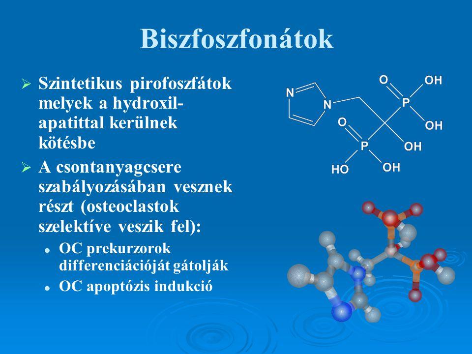 Biszfoszfonátok Szintetikus pirofoszfátok melyek a hydroxil-apatittal kerülnek kötésbe.