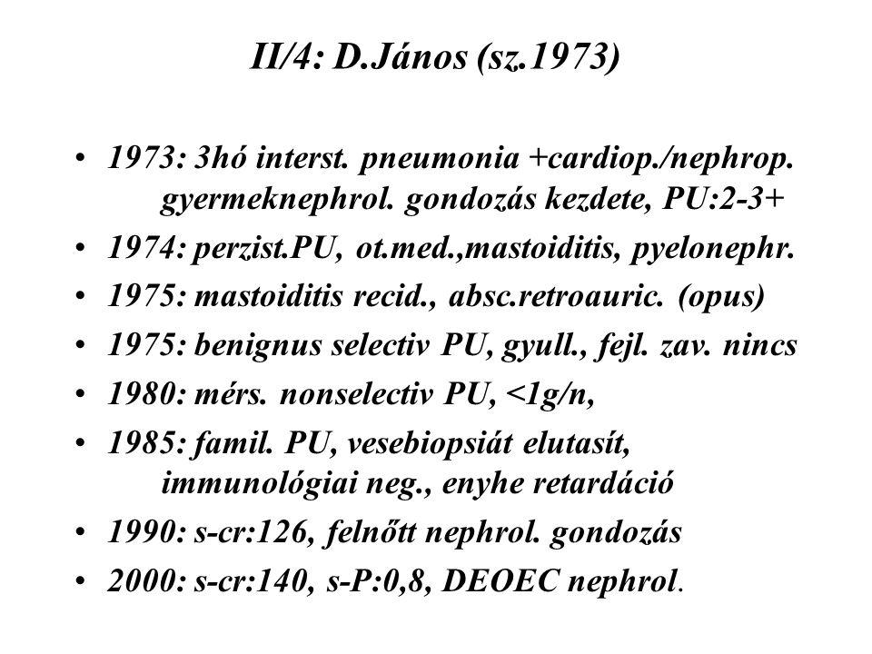 II/4: D.János (sz.1973) 1973: 3hó interst. pneumonia +cardiop./nephrop. gyermeknephrol. gondozás kezdete, PU:2-3+