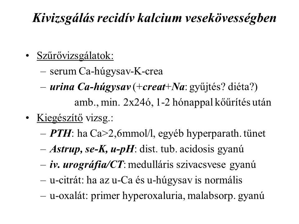 Kivizsgálás recidív kalcium vesekövességben