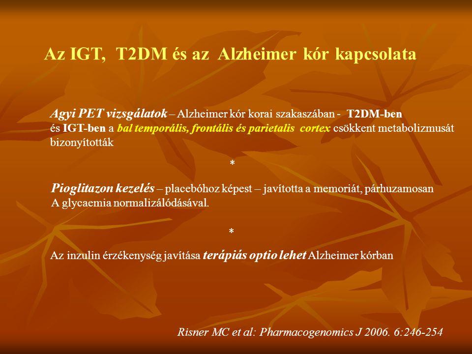 Az IGT, T2DM és az Alzheimer kór kapcsolata