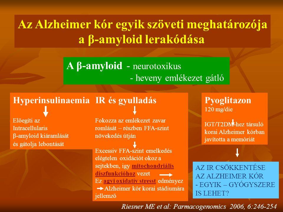 Az Alzheimer kór egyik szöveti meghatározója a β-amyloid lerakódása