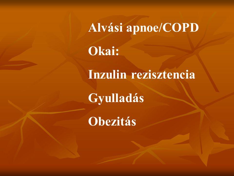 Alvási apnoe/COPD Okai: Inzulin rezisztencia Gyulladás Obezitás