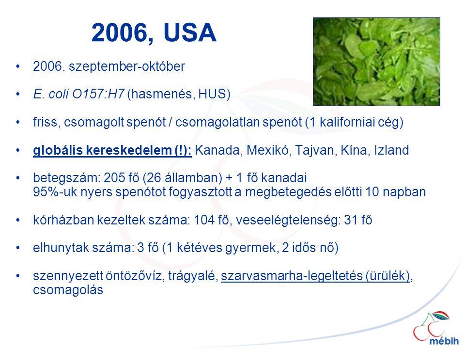 2006, USA 2006. szeptember-október E. coli O157:H7 (hasmenés, HUS)