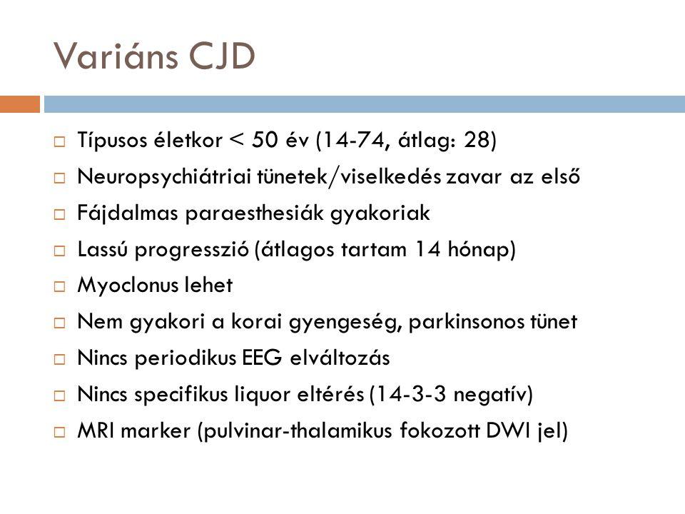 Variáns CJD Típusos életkor < 50 év (14-74, átlag: 28)