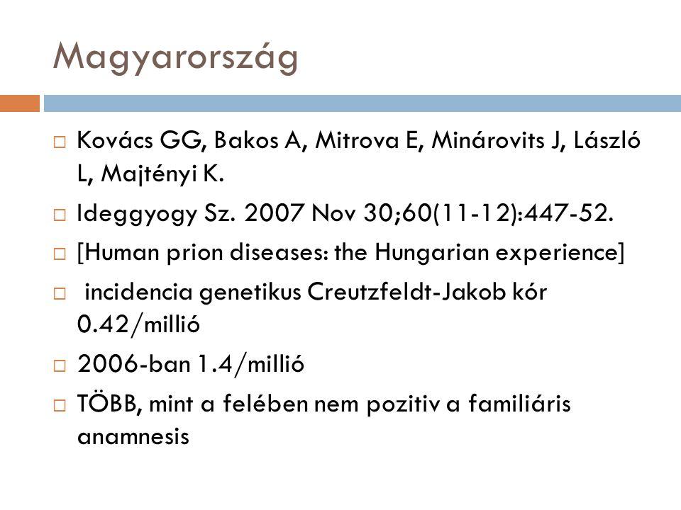 Magyarország Kovács GG, Bakos A, Mitrova E, Minárovits J, László L, Majtényi K. Ideggyogy Sz. 2007 Nov 30;60(11-12):447-52.