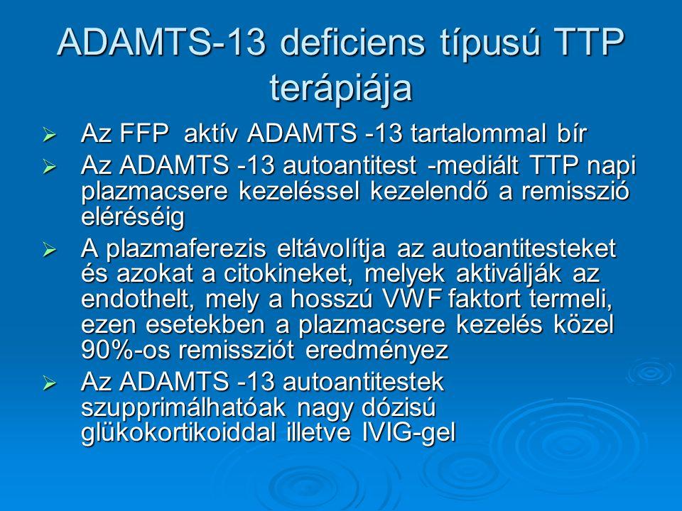 ADAMTS-13 deficiens típusú TTP terápiája
