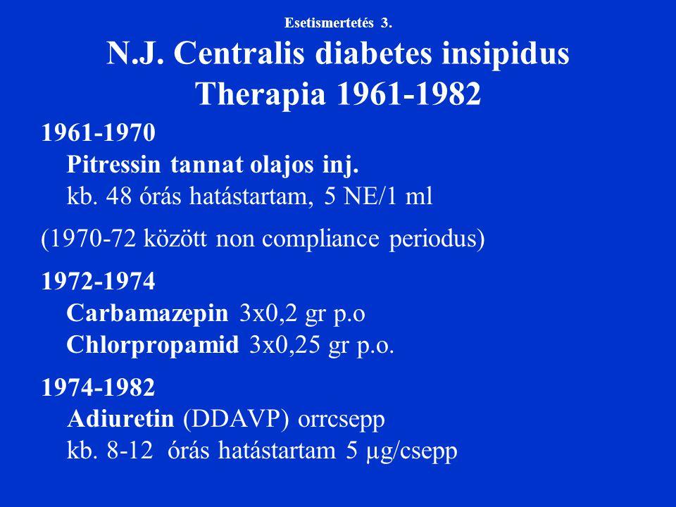 Esetismertetés 3. N.J. Centralis diabetes insipidus Therapia 1961-1982