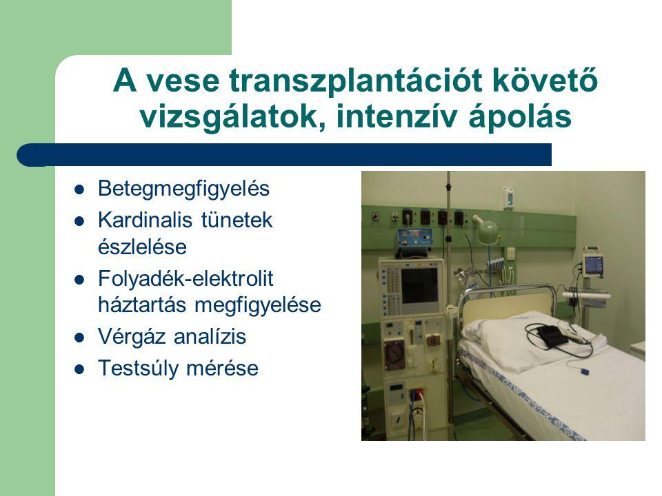 A vese transzplantációt követő vizsgálatok, intenzív ápolás