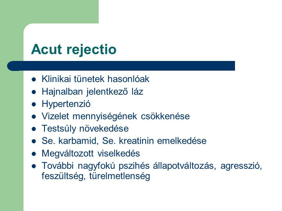 Acut rejectio Klinikai tünetek hasonlóak Hajnalban jelentkező láz