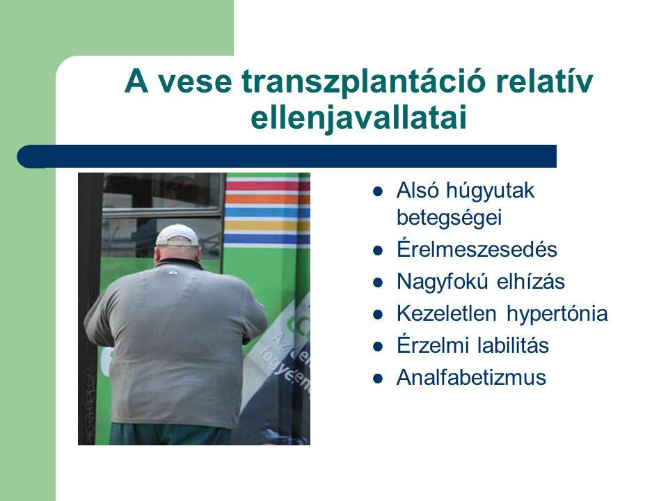 A vese transzplantáció relatív ellenjavallatai