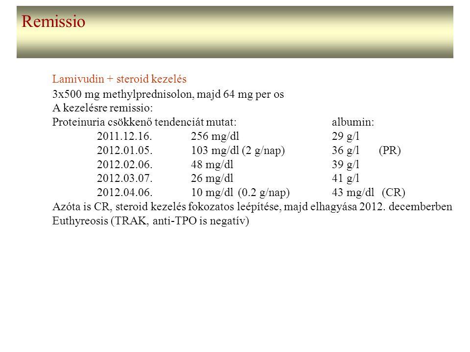 Remissio Lamivudin + steroid kezelés