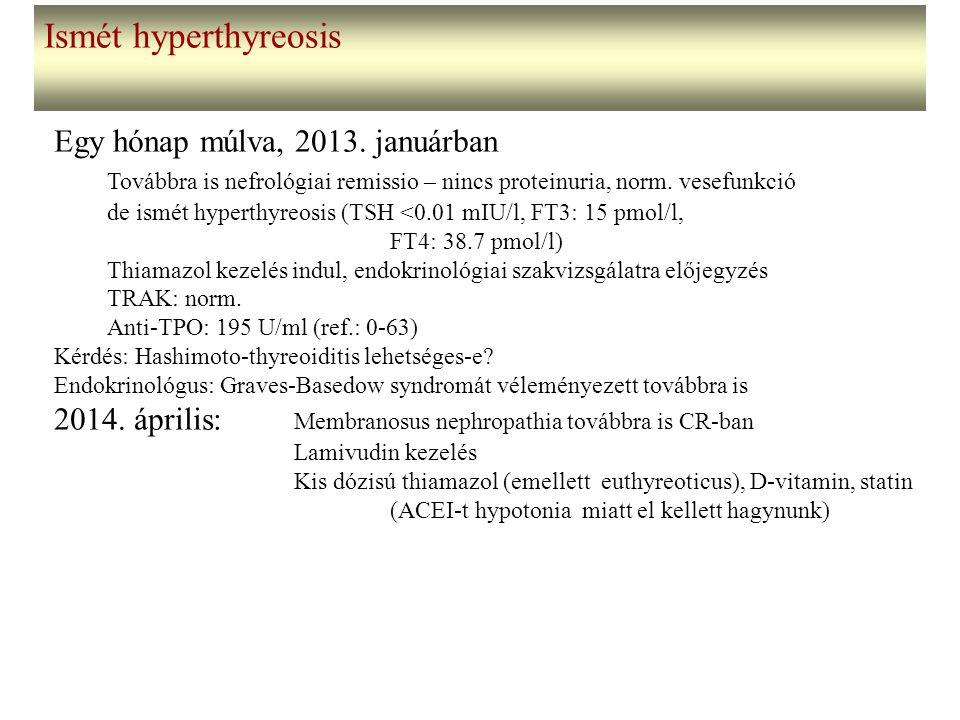 Ismét hyperthyreosis Egy hónap múlva, 2013. januárban