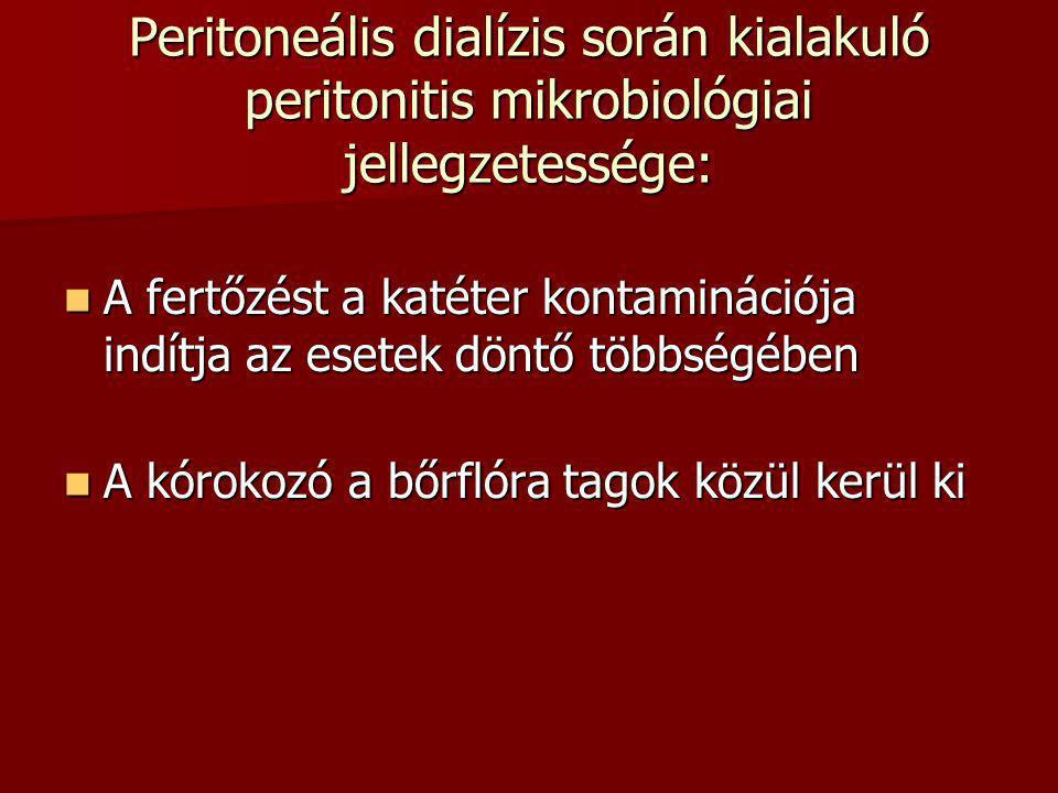 Peritoneális dialízis során kialakuló peritonitis mikrobiológiai jellegzetessége: