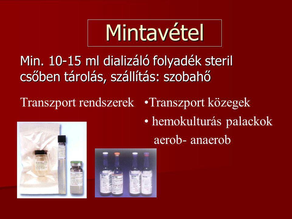 Mintavétel Min. 10-15 ml dializáló folyadék steril csőben tárolás, szállítás: szobahő. Transzport rendszerek.