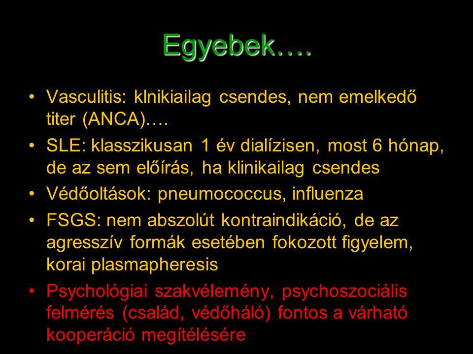 Egyebek…. Vasculitis: klnikiailag csendes, nem emelkedő titer (ANCA)….