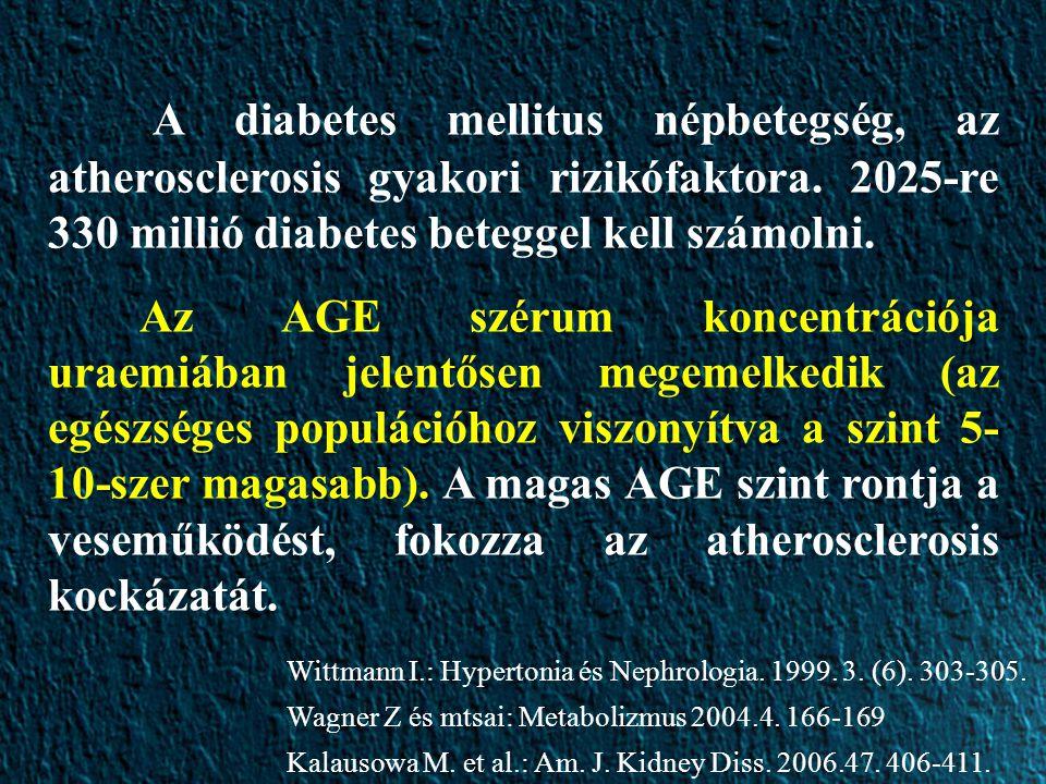 A diabetes mellitus népbetegség, az atherosclerosis gyakori rizikófaktora. 2025-re 330 millió diabetes beteggel kell számolni.