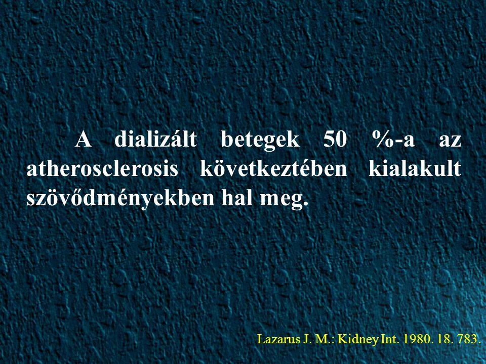 A dializált betegek 50 %-a az atherosclerosis következtében kialakult szövődményekben hal meg.
