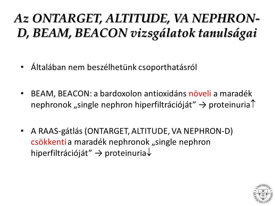 Az ONTARGET, ALTITUDE, VA NEPHRON-D, BEAM, BEACON vizsgálatok tanulságai