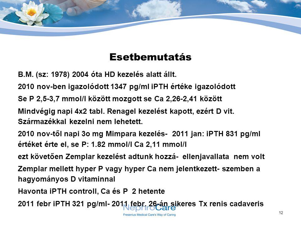 Esetbemutatás B.M. (sz: 1978) 2004 óta HD kezelés alatt állt.