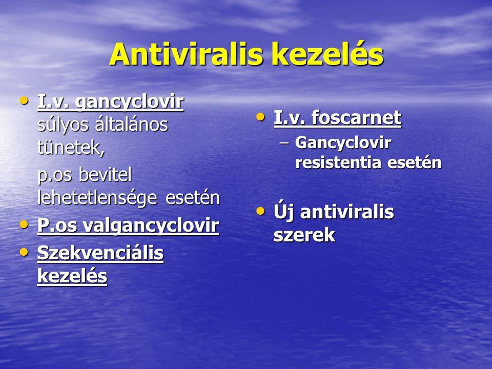 Antiviralis kezelés I.v. gancyclovir súlyos általános tünetek,