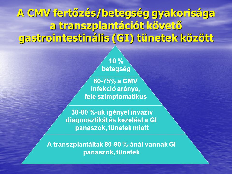 A CMV fertőzés/betegség gyakorisága a transzplantációt követő gastrointestinális (GI) tünetek között