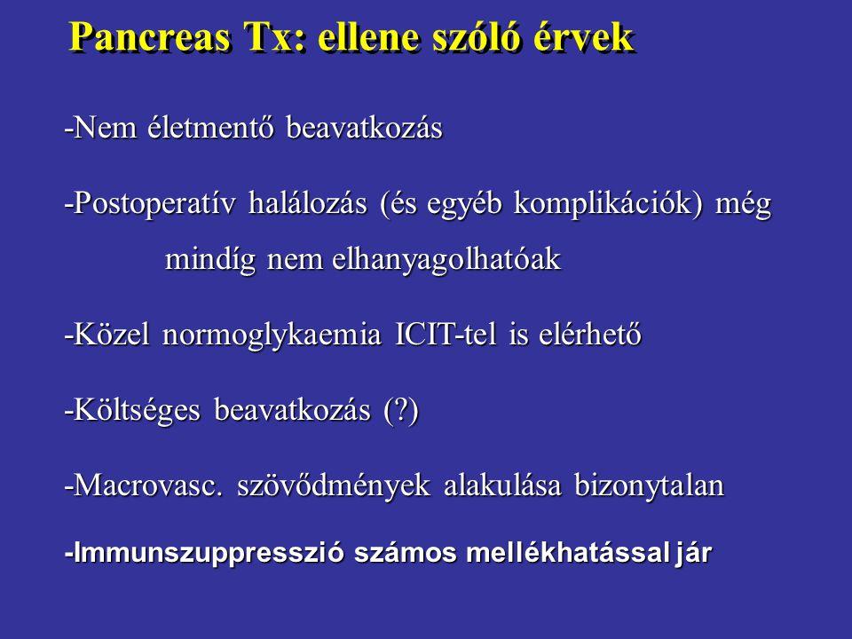 Pancreas Tx: ellene szóló érvek