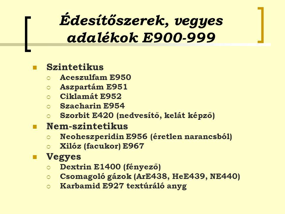 Édesítőszerek, vegyes adalékok E900-999