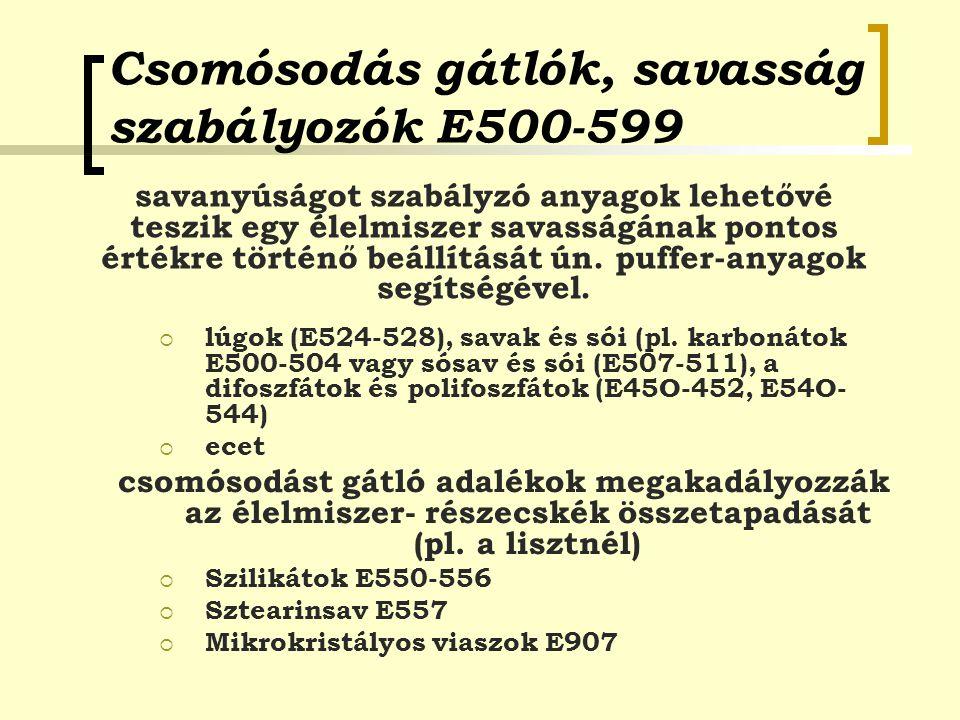 Csomósodás gátlók, savasság szabályozók E500-599