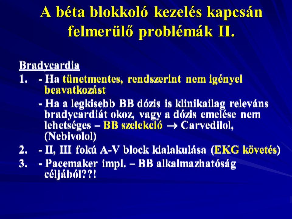 A béta blokkoló kezelés kapcsán felmerülő problémák II.