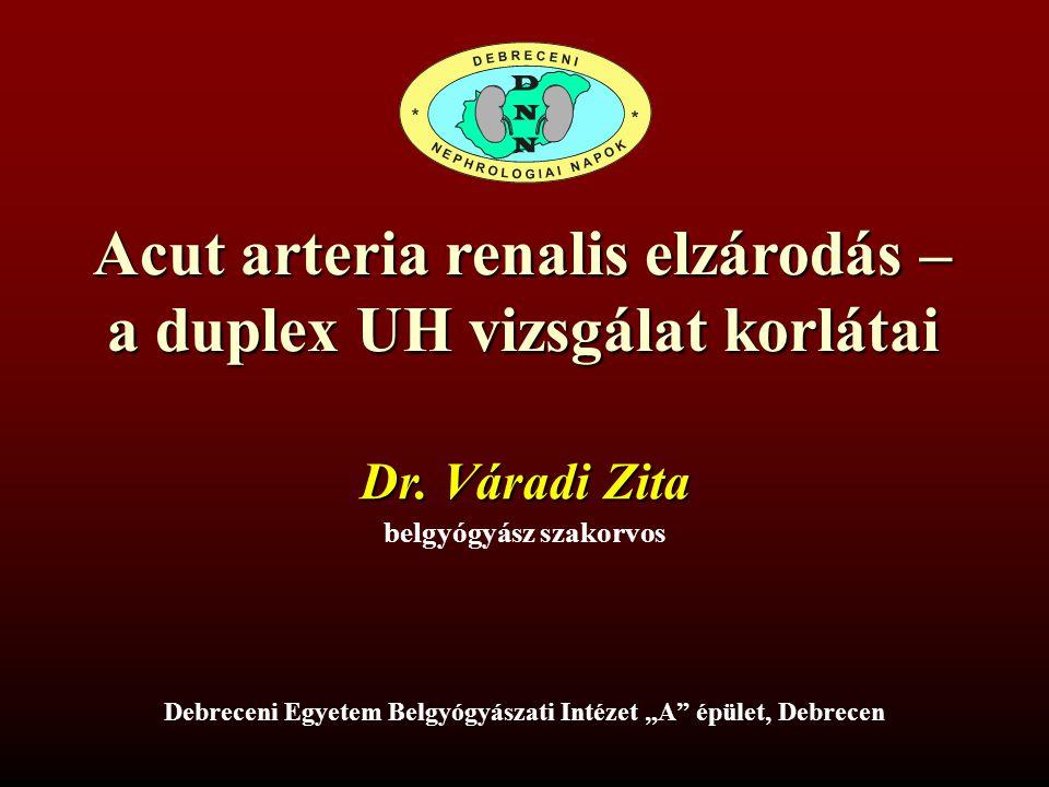 Acut arteria renalis elzárodás – a duplex UH vizsgálat korlátai
