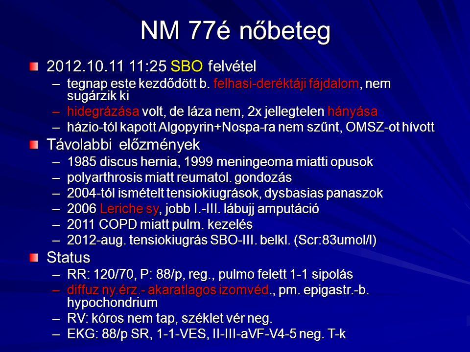 NM 77é nőbeteg 2012.10.11 11:25 SBO felvétel Távolabbi előzmények