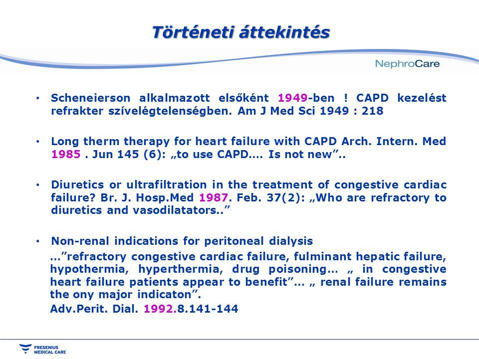 Történeti áttekintés Scheneierson alkalmazott elsőként 1949-ben ! CAPD kezelést refrakter szívelégtelenségben. Am J Med Sci 1949 : 218.