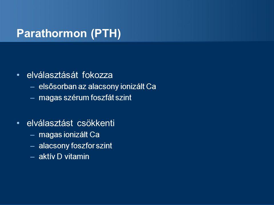 Parathormon (PTH) elválasztását fokozza elválasztást csökkenti