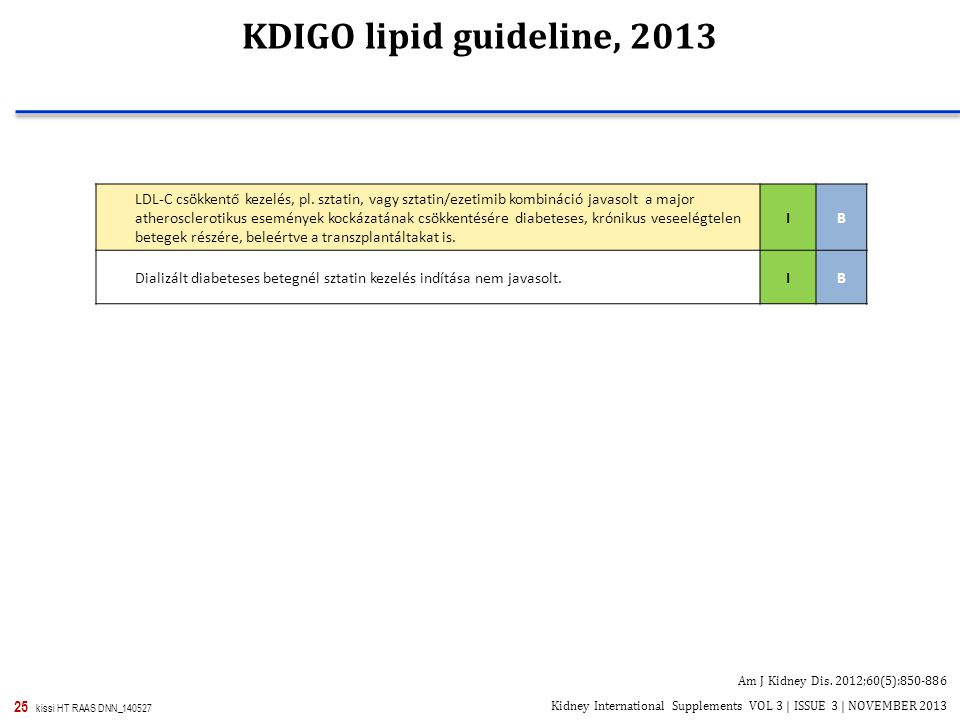 KDIGO lipid guideline, 2013