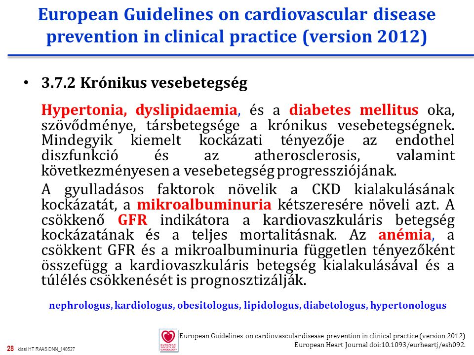 European Guidelines on cardiovascular disease prevention in clinical practice (version 2012)