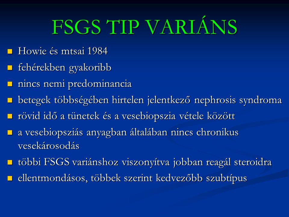 FSGS TIP VARIÁNS Howie és mtsai 1984 fehérekben gyakoribb