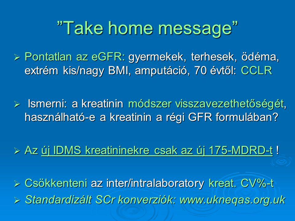 Take home message Pontatlan az eGFR: gyermekek, terhesek, ödéma, extrém kis/nagy BMI, amputáció, 70 évtől: CCLR.