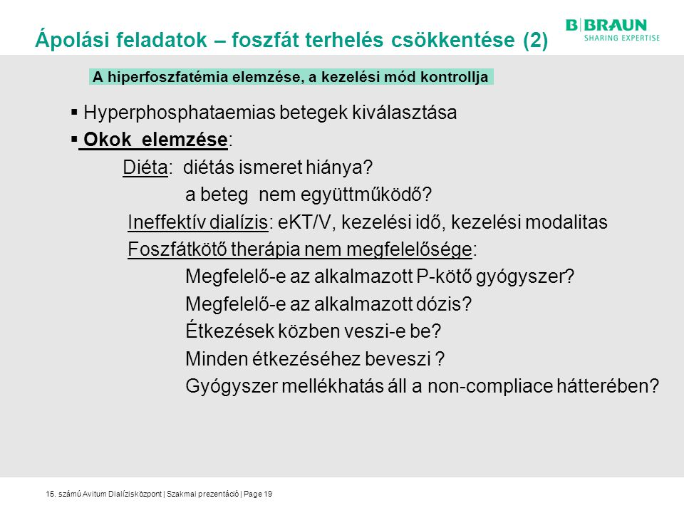 A hiperfoszfatémia elemzése, a kezelési mód kontrollja