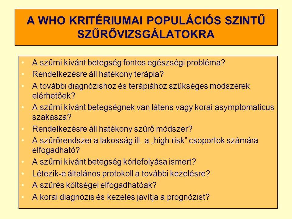 A WHO KRITÉRIUMAI POPULÁCIÓS SZINTŰ SZŰRŐVIZSGÁLATOKRA