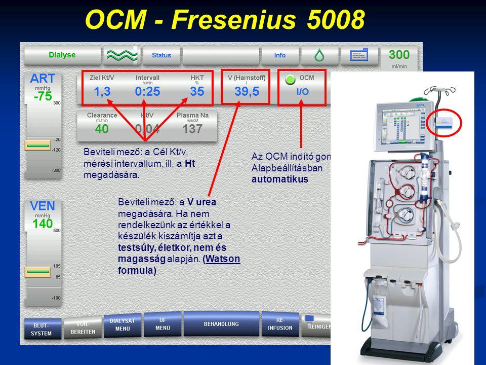 OCM - Fresenius 5008 Beviteli mező: a Cél Kt/v, mérési intervallum, ill. a Ht megadására. Az OCM indító gombja. Alapbeállításban automatikus.