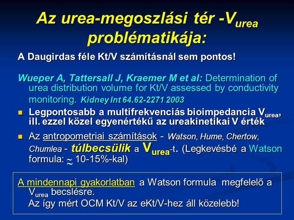 Az urea-megoszlási tér -Vurea problématikája: