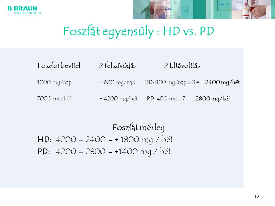 Foszfát egyensúly : HD vs. PD