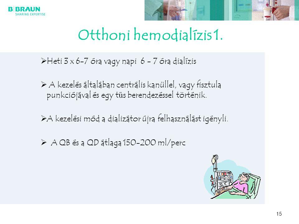 Otthoni hemodialízis 1. Heti 3 x 6-7 óra vagy napi 6 - 7 óra dialízis