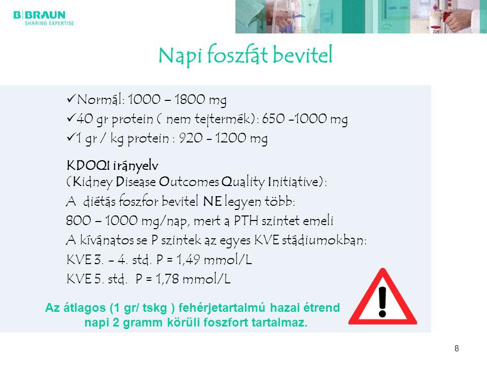 Napi foszfát bevitel Normál: 1000 – 1800 mg