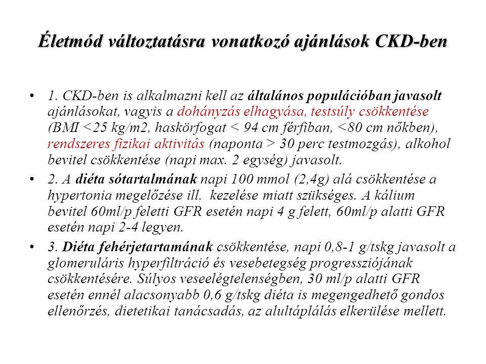 Életmód változtatásra vonatkozó ajánlások CKD-ben
