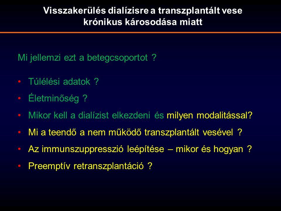 Visszakerülés dialízisre a transzplantált vese krónikus károsodása miatt