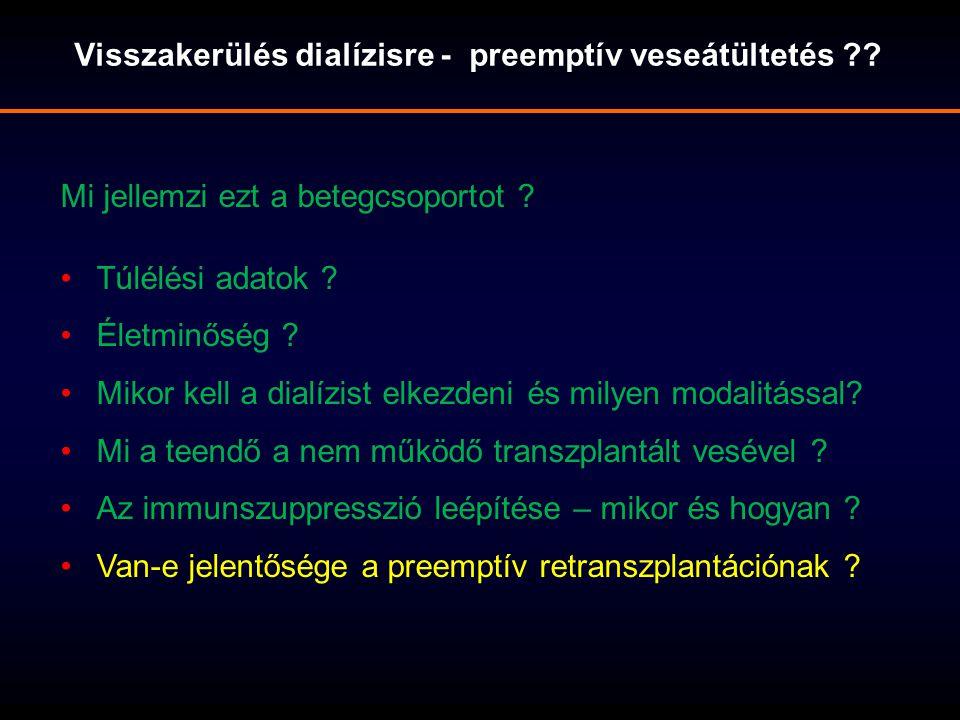 Visszakerülés dialízisre - preemptív veseátültetés