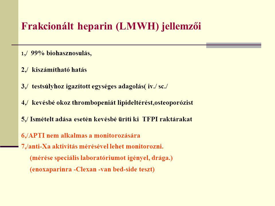 Frakcionált heparin (LMWH) jellemzői