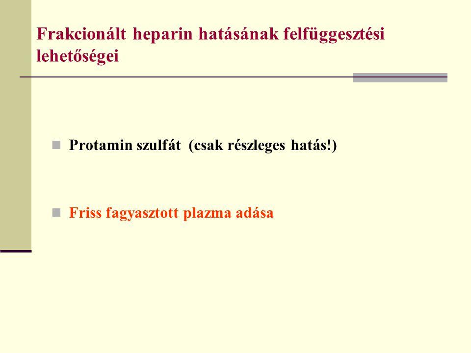 Frakcionált heparin hatásának felfüggesztési lehetőségei